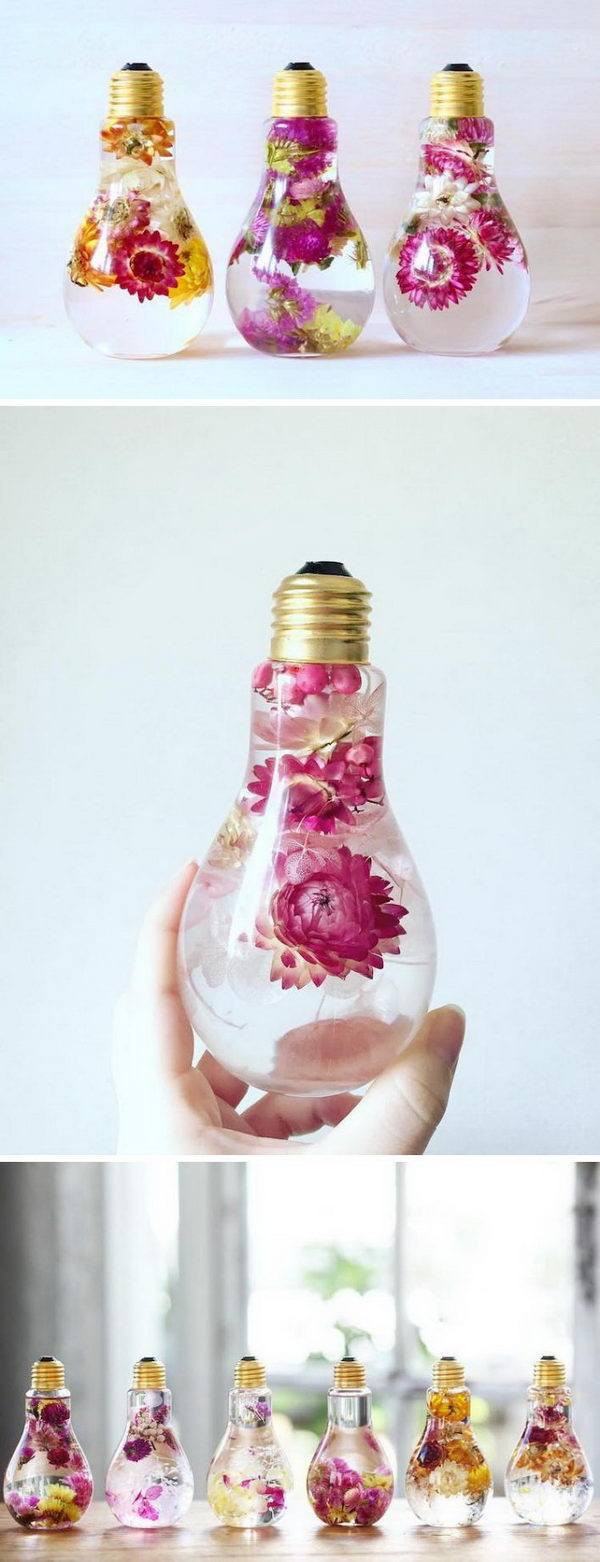 DIY Flower Light Bulb Vases.