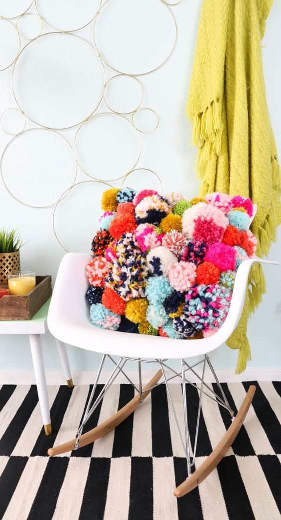 DIY Pom Pom Pillow .