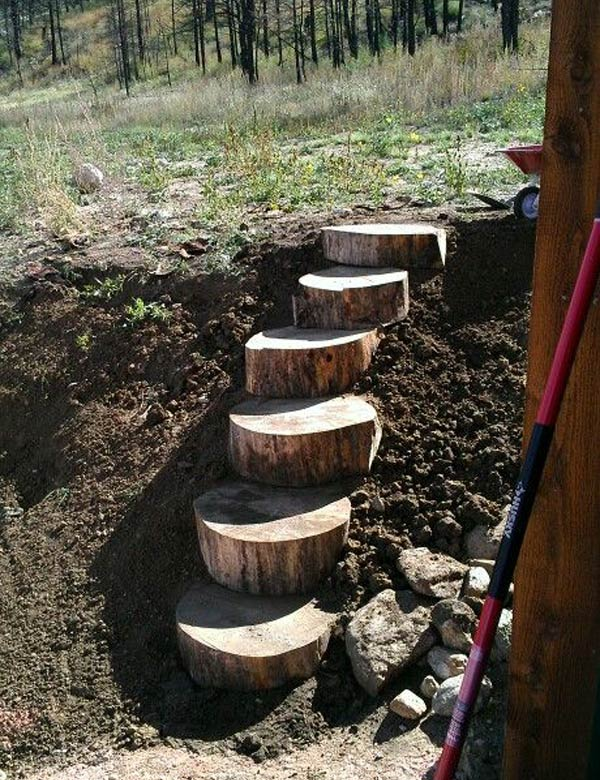 Log Stairs on a Slope Garden.