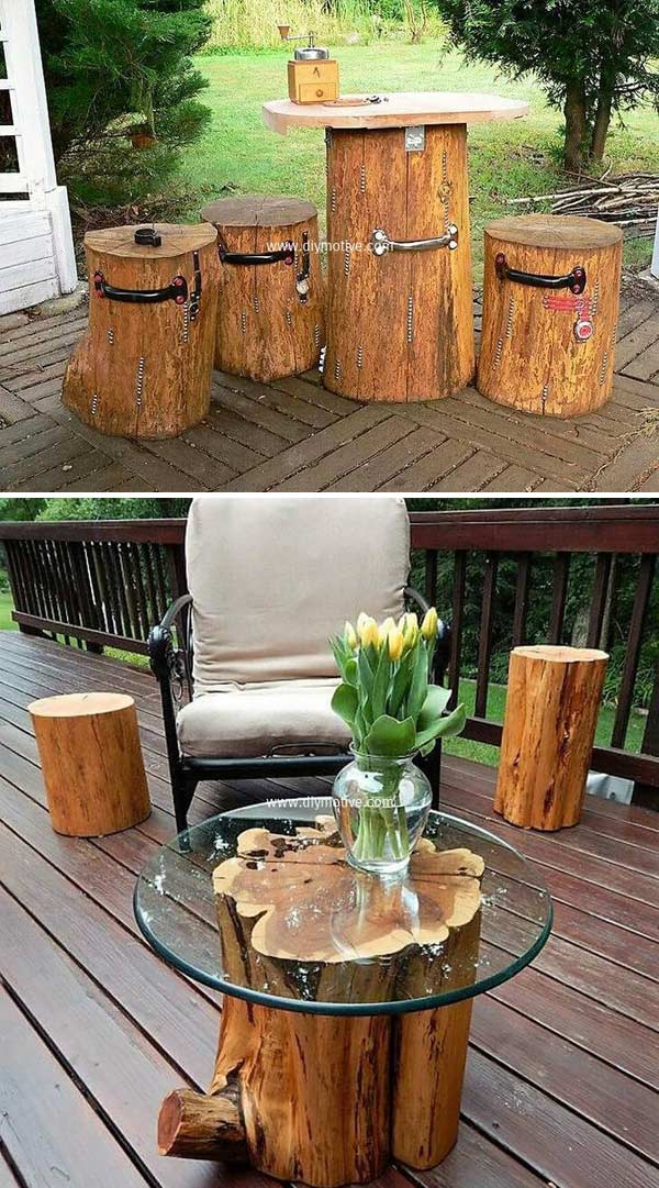 Wooden Tree Logs Turned Into an Exotic Coffee Table.