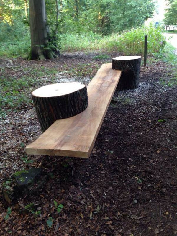 Garden Bench from Two Tree Log and a Piece of Tree Log Slice.