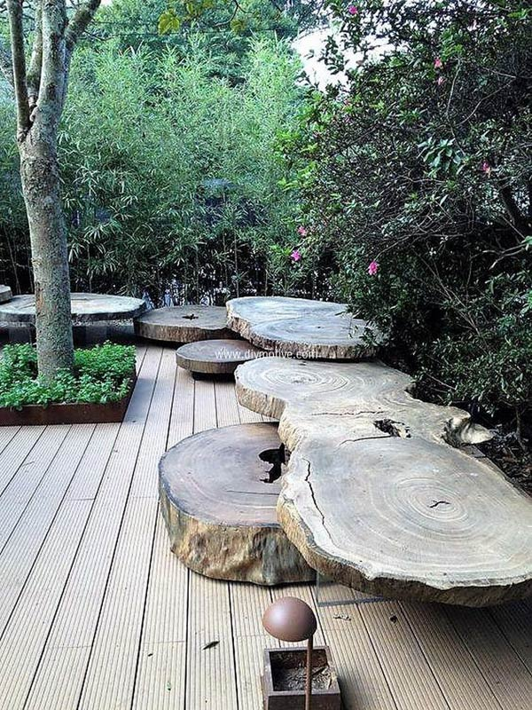 Big Sliced Tree Logs as Garden Benches.