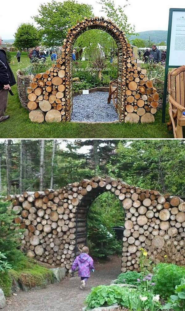 Stunning Tree Log Garden Gate.