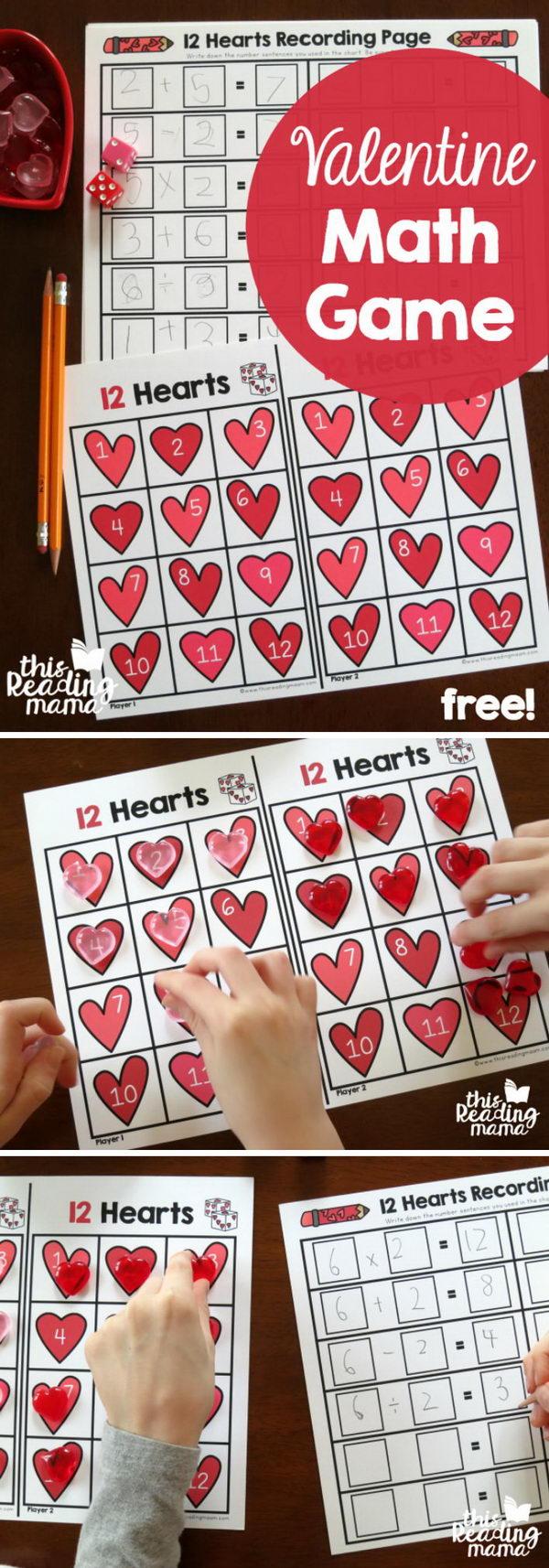 Valentine Math Facts Game.