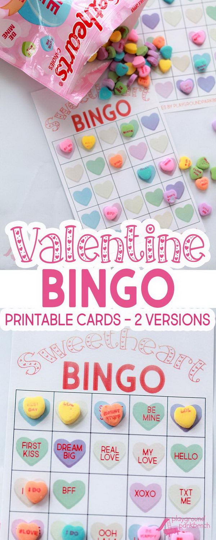 Valentine Conversation Hearts Bingo Game.
