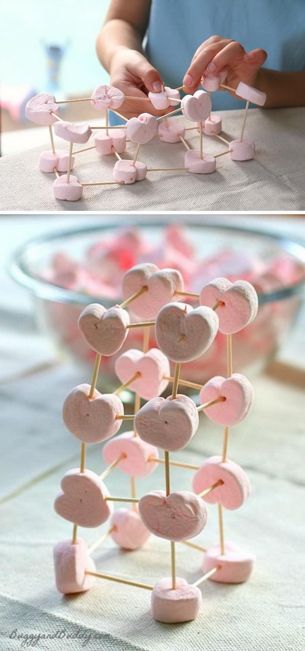 Heart Marshmallow Toothpick Structures.
