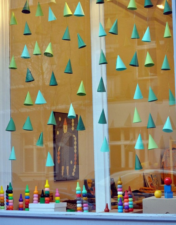 Hanging Paper Cones  sc 1 st  IdeaStand & 15+ Easy DIY Window Decorating Ideas 2017