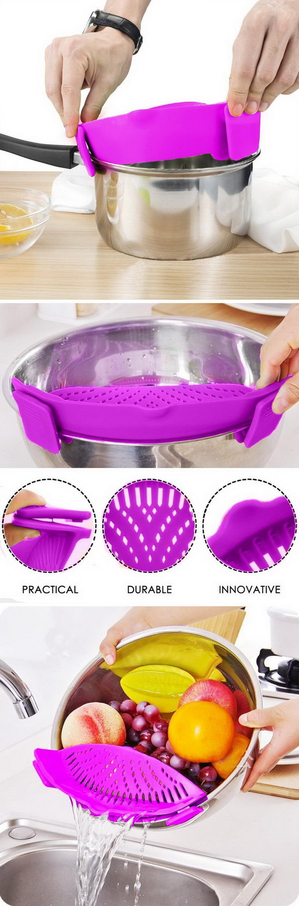 This Genius Silicone Strainer That Fits Basically Every Sized Pot You Have.