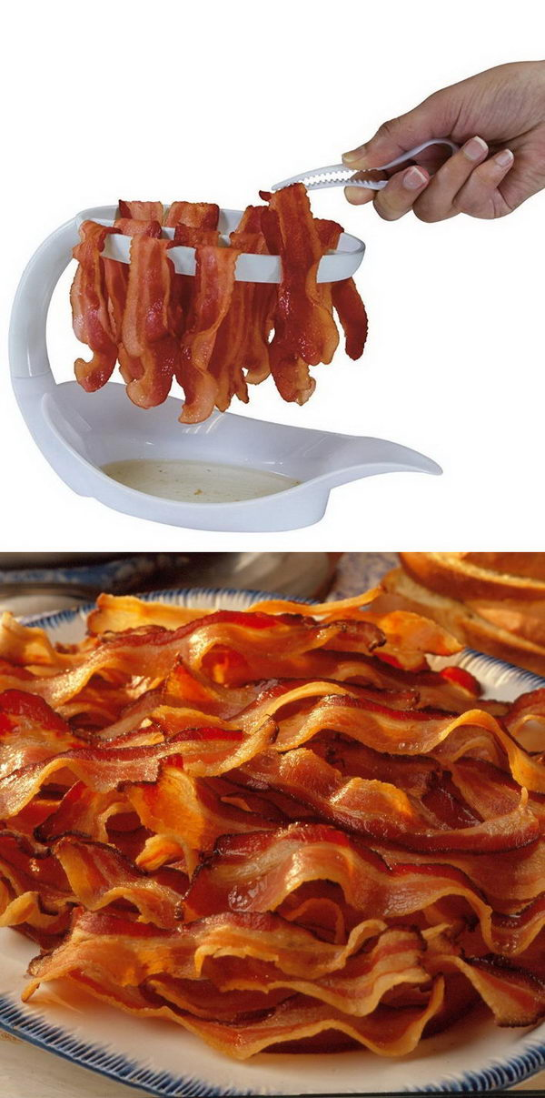 A Unique Tool For Crispy Bacon In The Microwave Without All That Extra Oil.