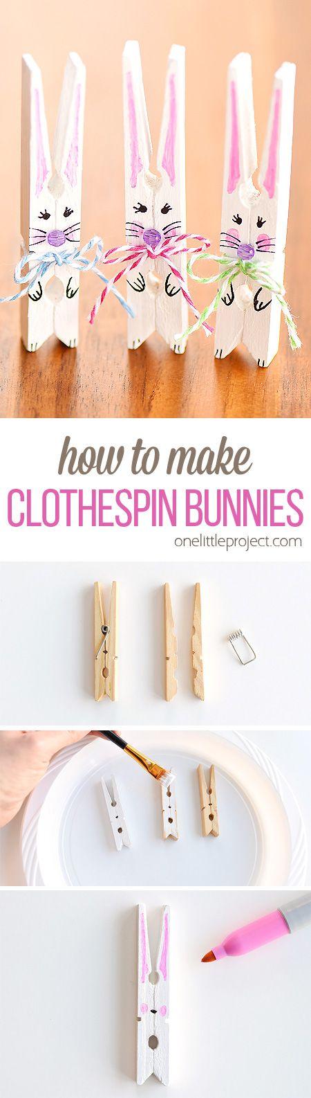 DIY Clothespin Bunnies.