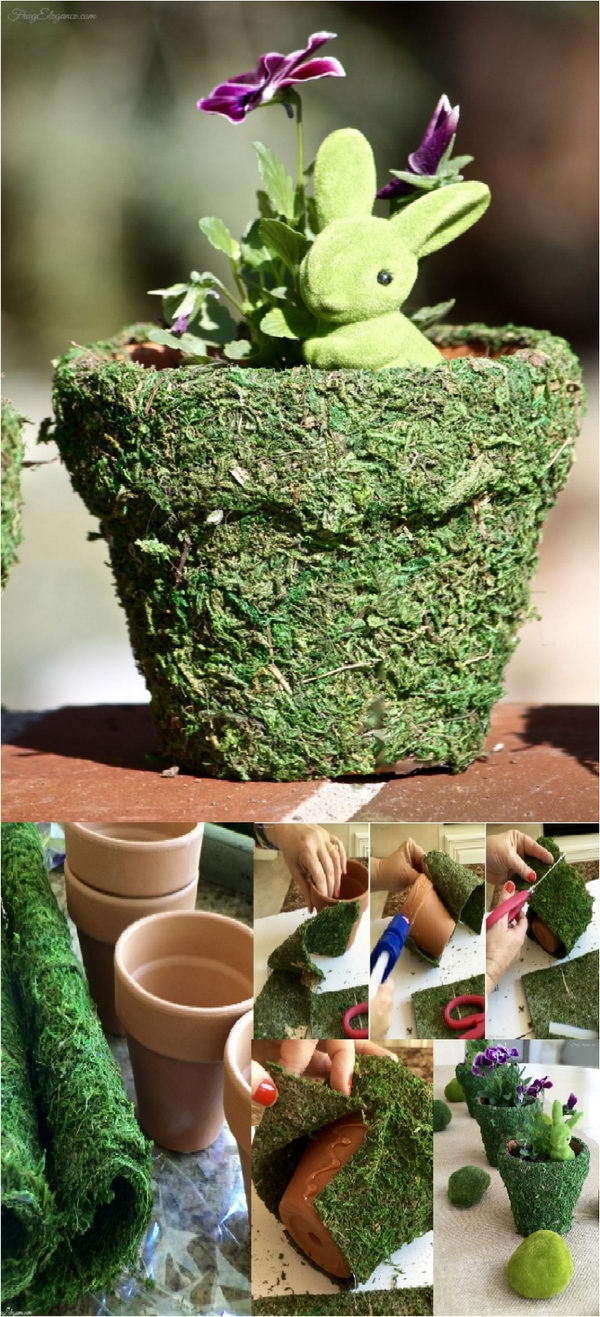 Spring Moss Covered Easter Pots.