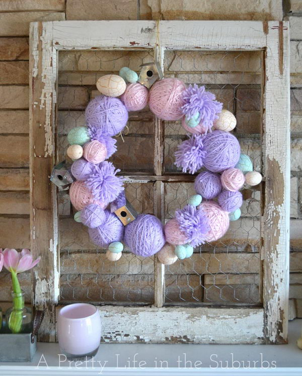 Easter Yarn Ball Wreath.