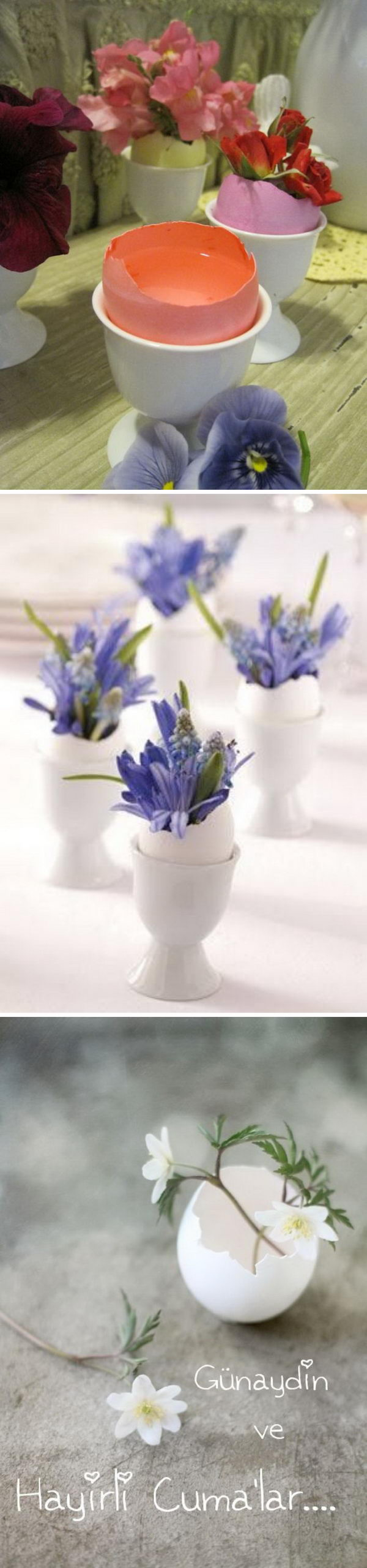 Use the eggshells as flower vases.