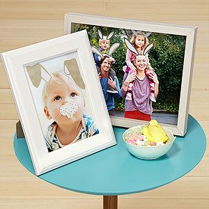 Easter bunny stickers on family photos.