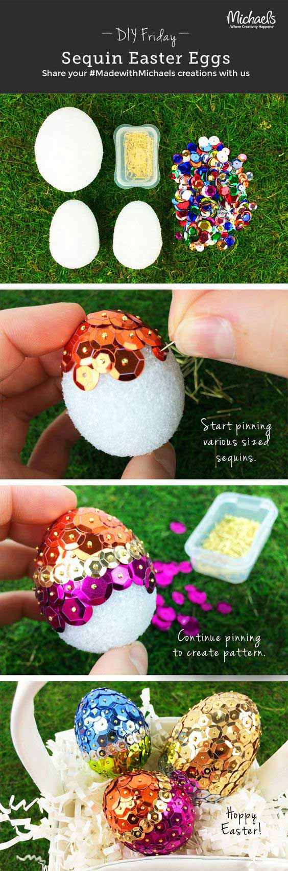 Add glitter to the eggs.