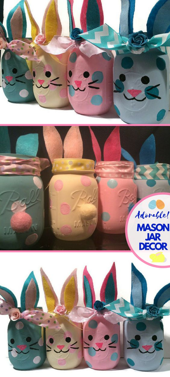 Bunny themed Decorated Manson jars.
