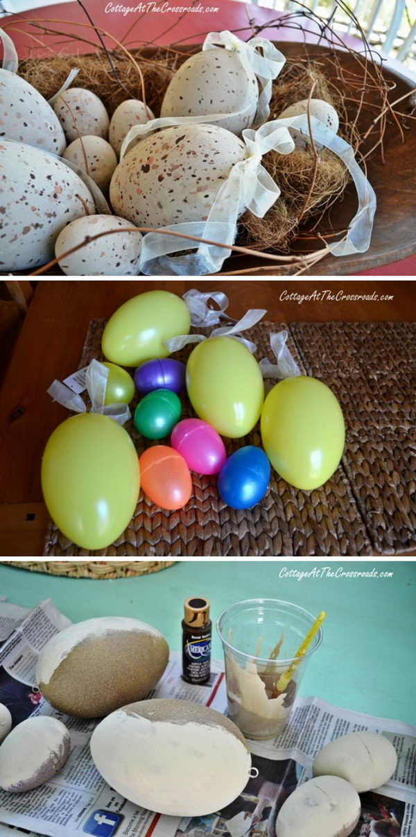 Spray painted faux easter eggs.