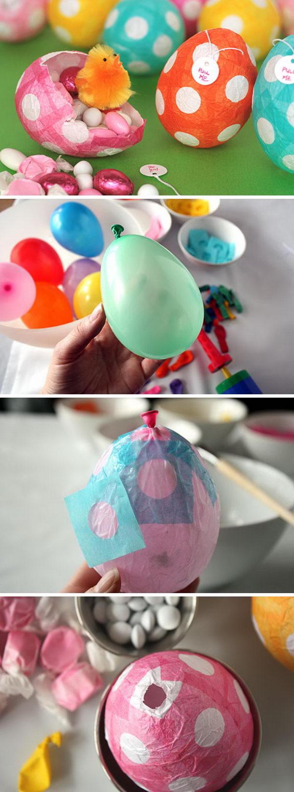 Papier mache Easter eggs.