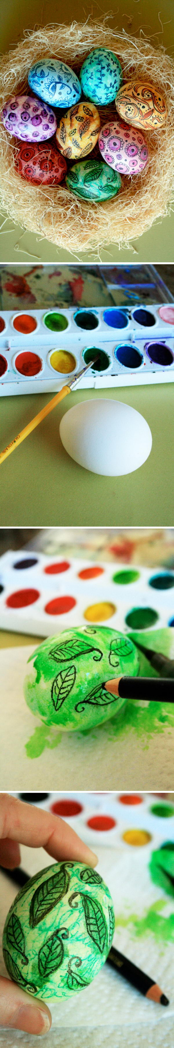 Use watercolor paint to color eggs.