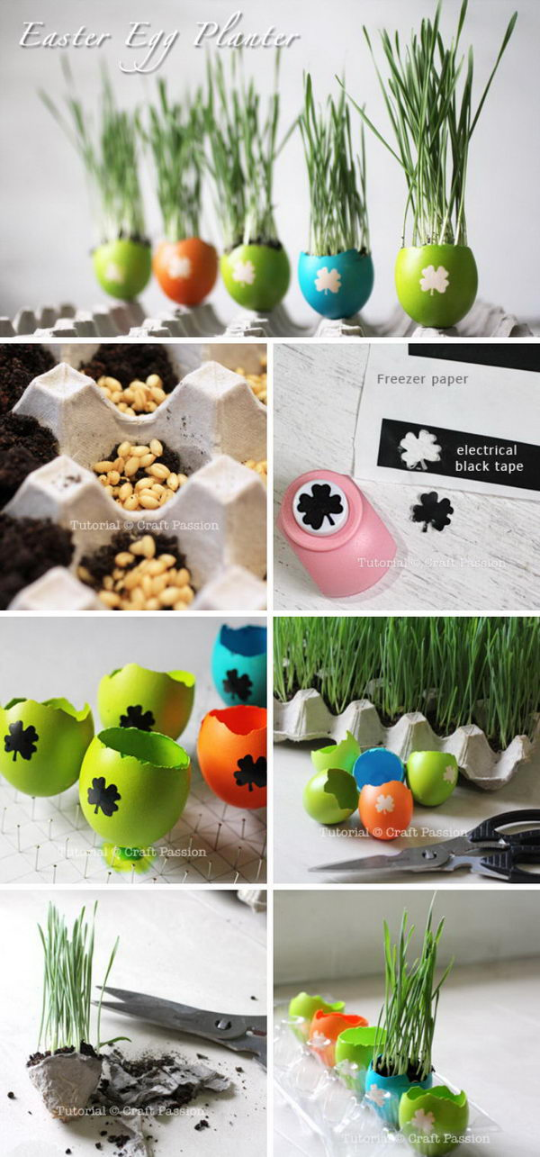 DIY Easter Egg Planters For Herbs Or Wheat Grass.