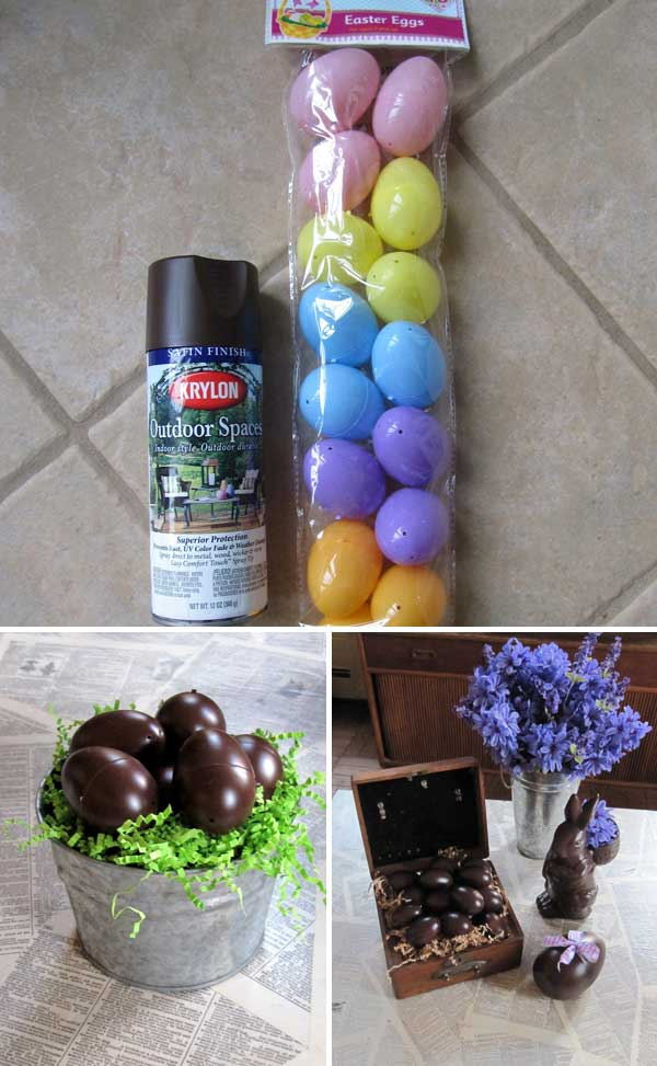 Chocolate Spray Painting Eggs for Easter.
