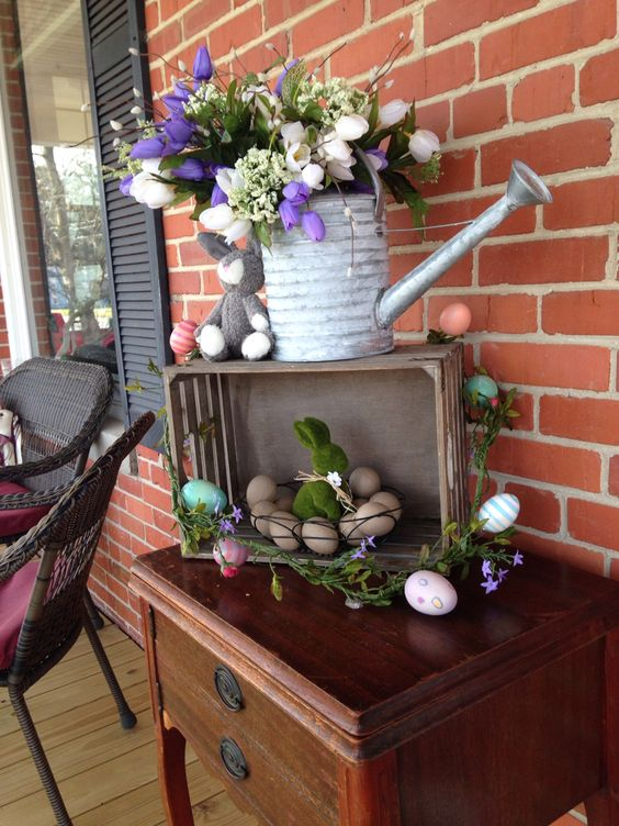 Spring Flowers And Easter Egg Arrangements.