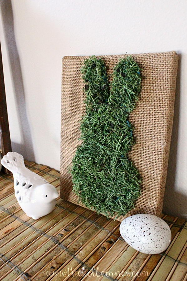 Moss Bunny Canvas Art.
