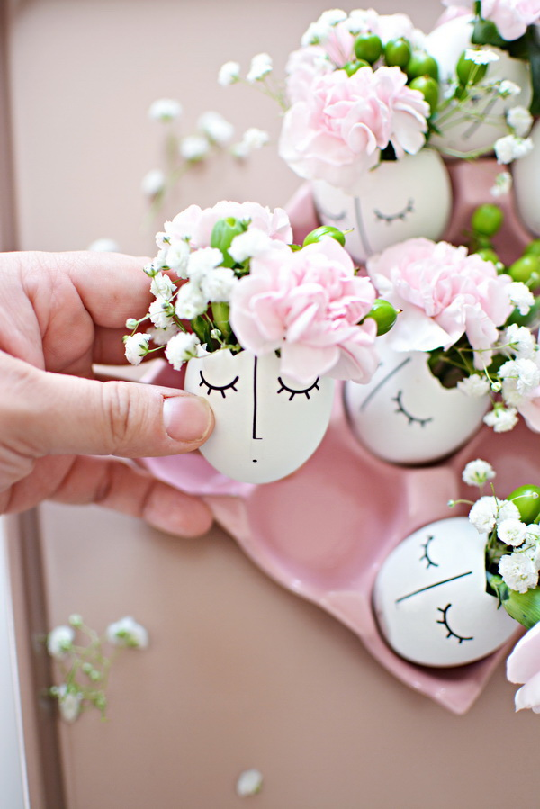 DIY Whimsy Illustrated Eggshell Centerpiece.