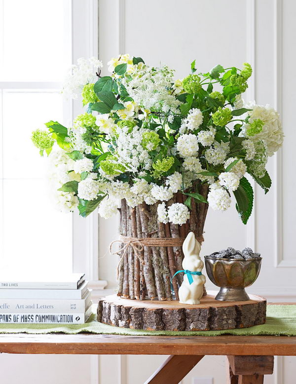Spring Centerpiece Ideas with Twigs and Twine.