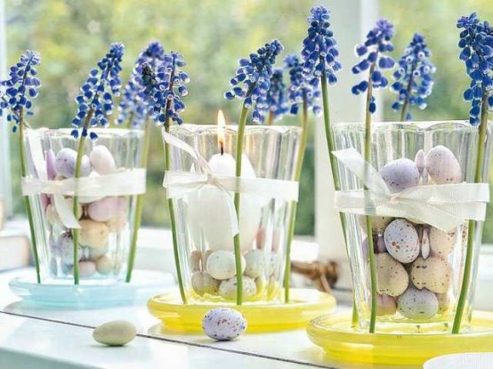 Lavender In Glasses Filled With Mini Eggs.