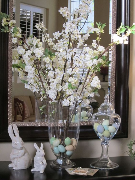 Cherry Blossom Branches In Apothecary Jars.