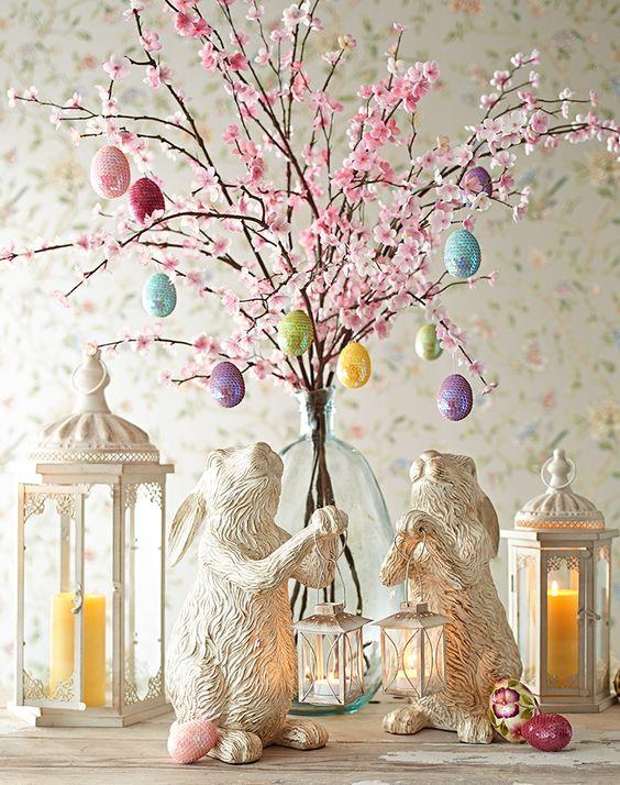 Blossom Braches Display With Eggs And Decorations.