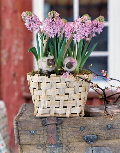 Decorative Basket With Spring Flowers.