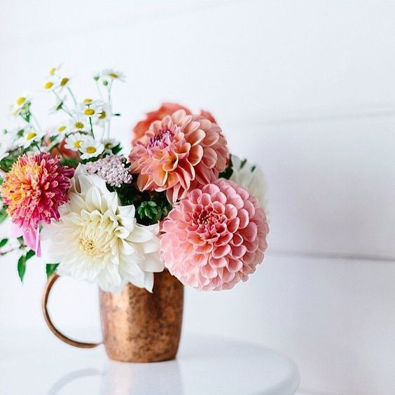 Dahlias In A Copper Mug.