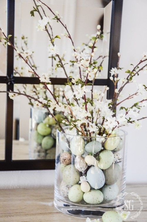 Easter Eggs And Spring Bloom Arrangement.