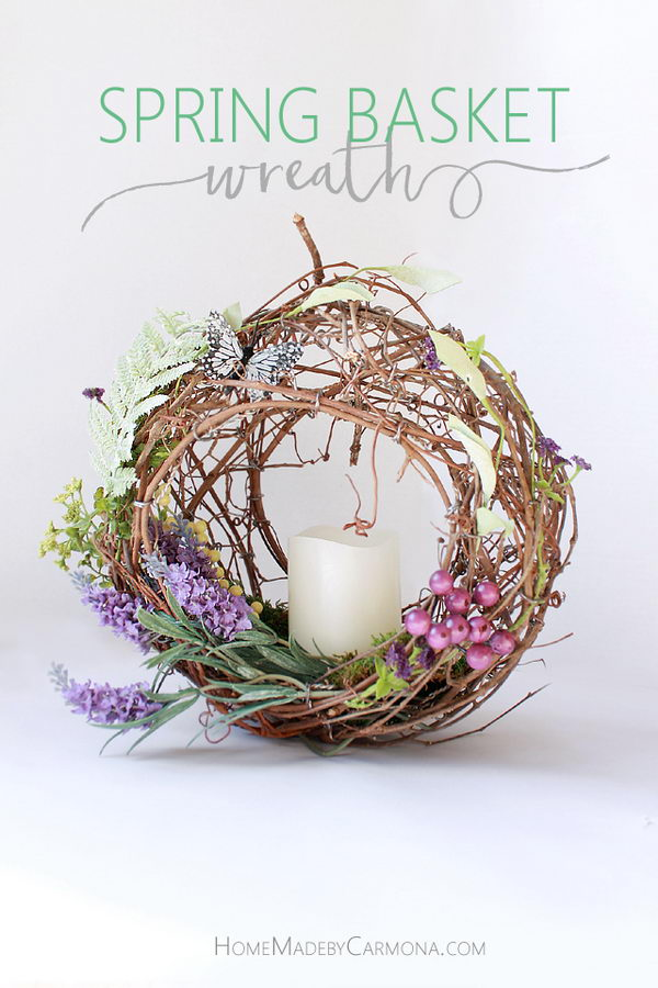 Spring Flower Basket Wreath.