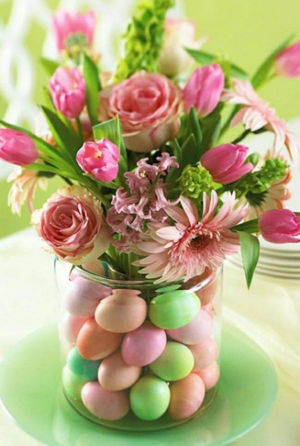 Easter Egg Vase With Pink Blooms.