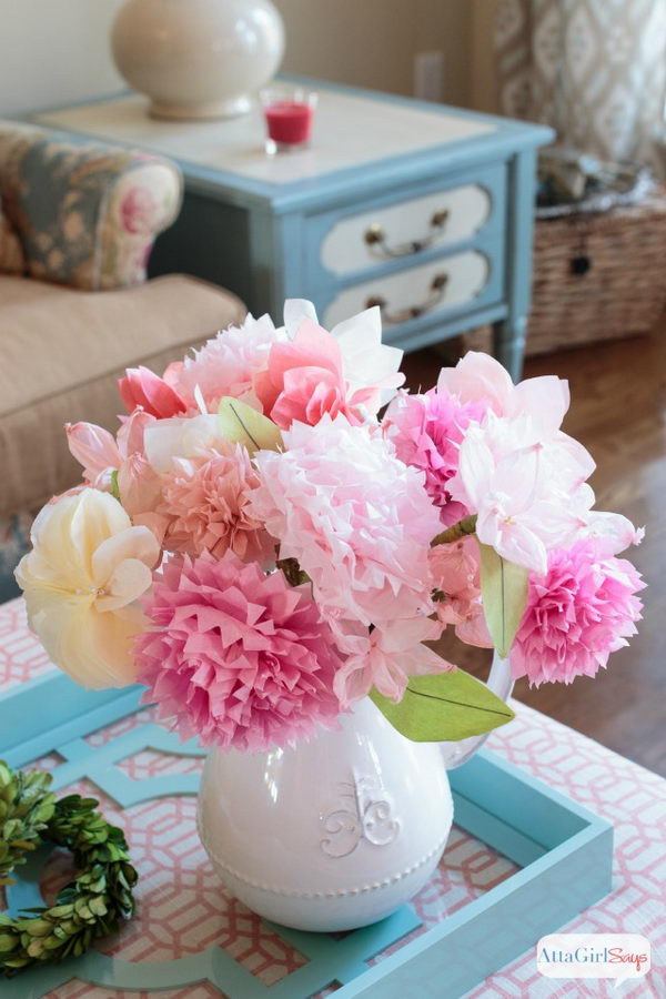 45 cheerful flower arrangement ideas for spring and easter 2017 tissue paper flowers mightylinksfo