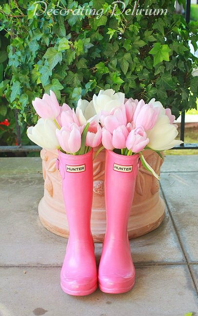 Adorable Rain Boot Flower Arrangement.