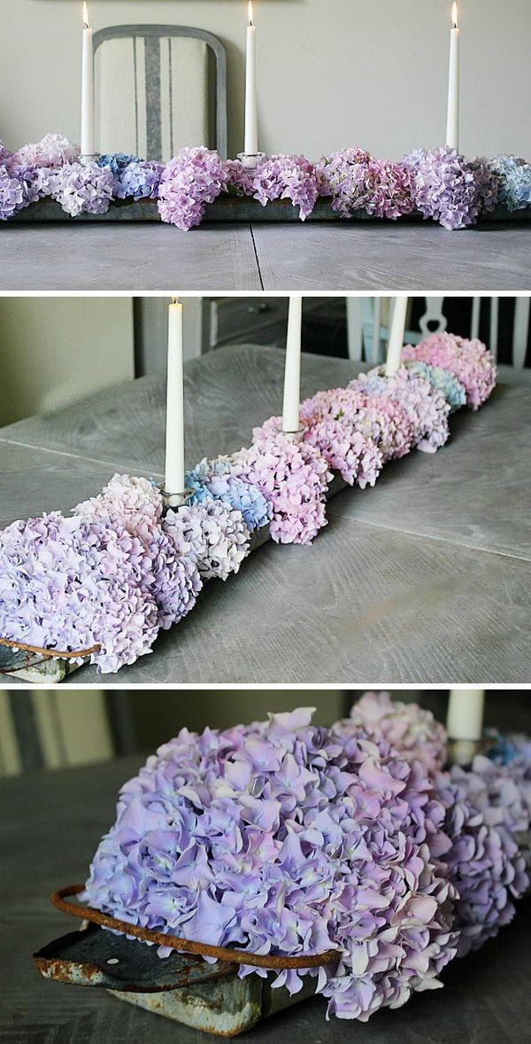 Upcycled Chicken Feeder and Hydrangea Table Centerpiece.