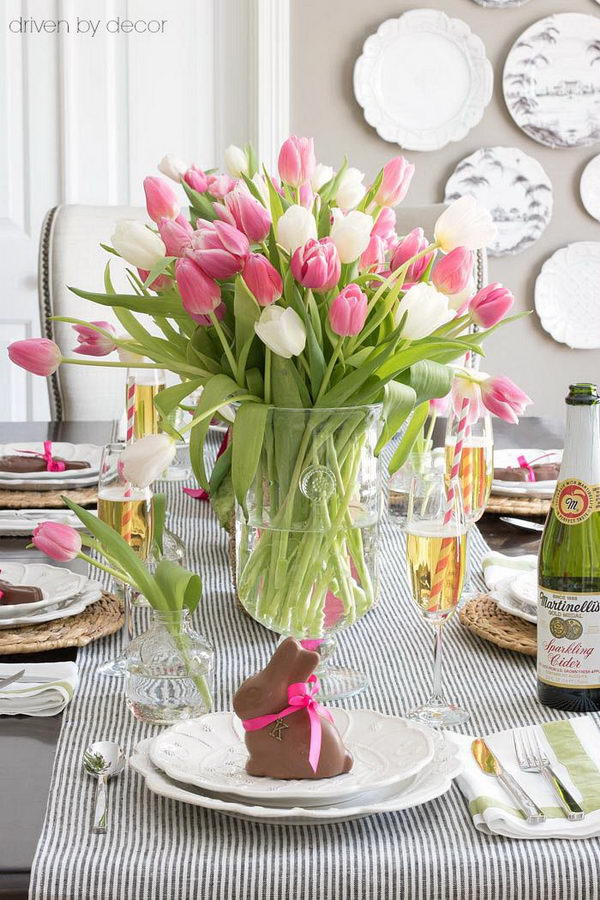Bunches Of Tulips In A Vase.