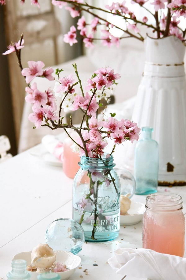 Simple Cherry Blossoms in a Mason Jar.