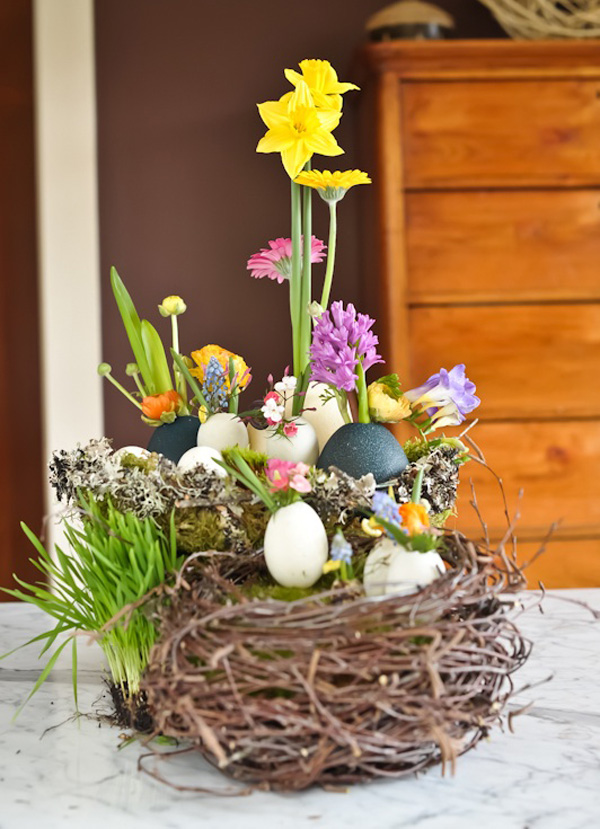 Flowers & Egg Shells in a Bird Nest.