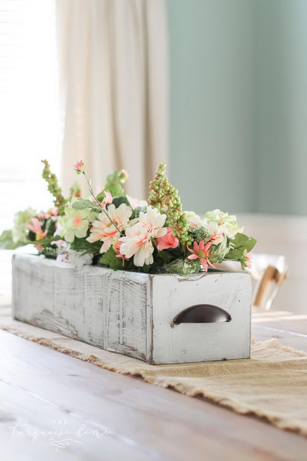 DIY Farmhouse Wooden Box Centerpiece.