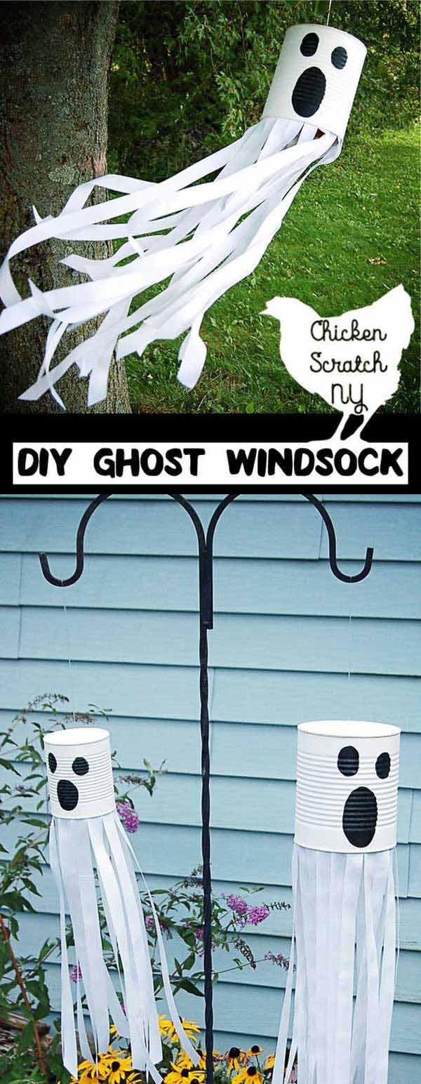 DIY Tin Can Ghost Windsock.
