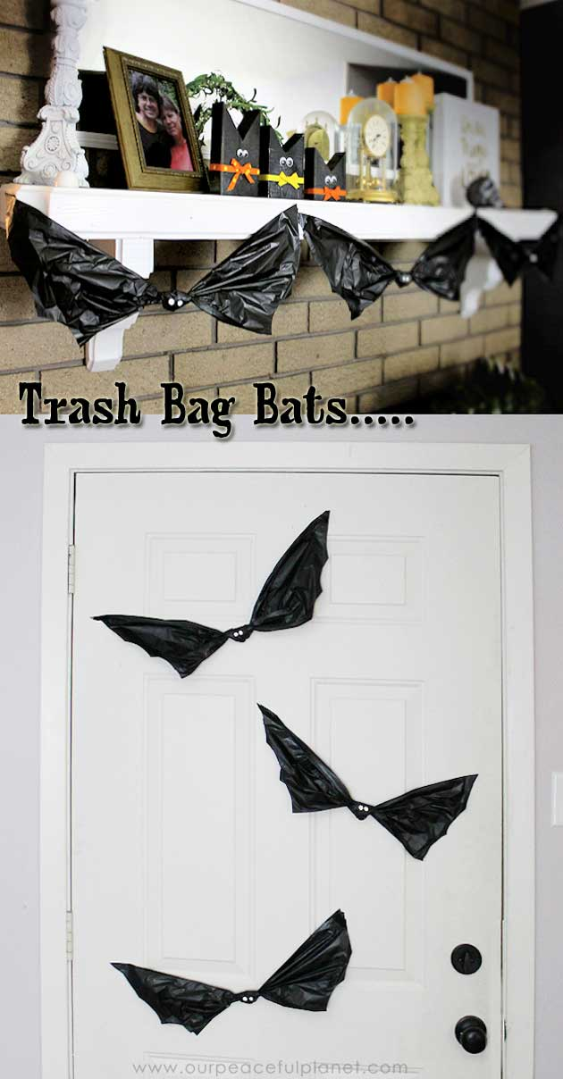 Halloween Bats Made From Trash Bag.