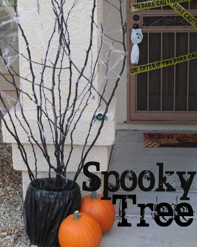 Decorate the Flower Pot with the Black Trash Bag to Get a Spooky Look.