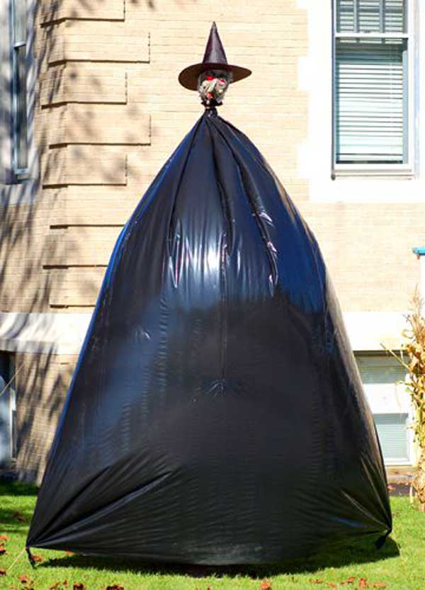 Halloween Witch Was Cleverly Fashioned Out of a Trash Bag.