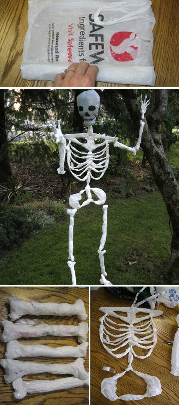 Skeleton Made of Plastic Bags.