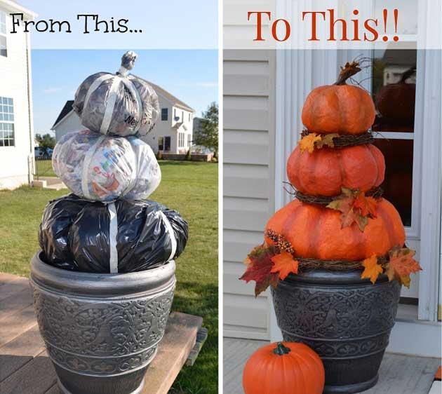 Halloween Pumpkins From Trash Bag.